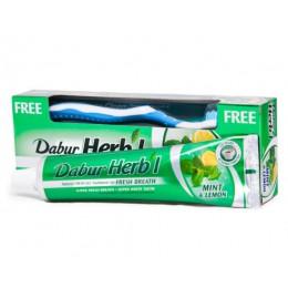 Зубная паста  Дабур Хербл «Мята & Лимон» ( Dabur Herb'l Mint & Lemon), с зубной щеткой, 150 гр.